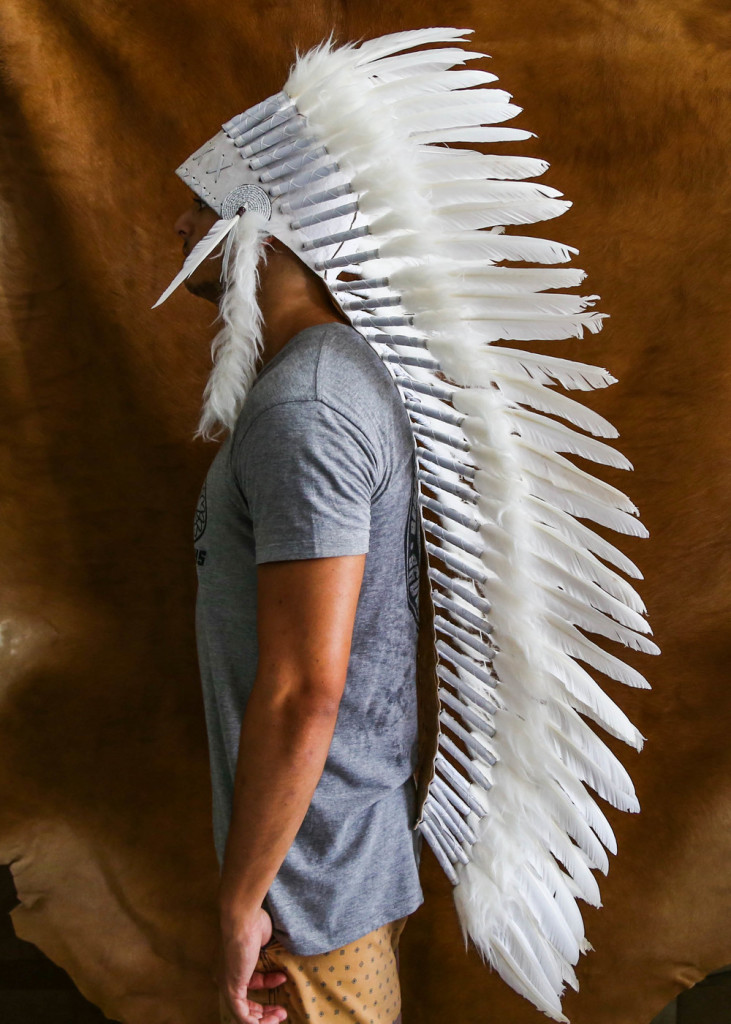 Large All White Indian Chief Headdress
